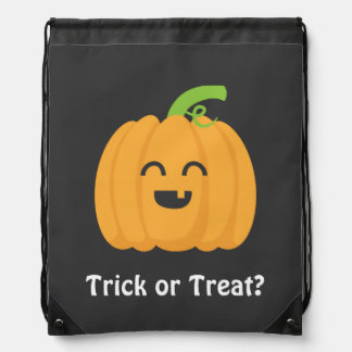 Trick or Treat with Cute Pumpkin for Halloween Drawstring Bag