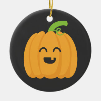 Trick or Treat with Cute Pumpkin for Halloween Round Ceramic Decoration