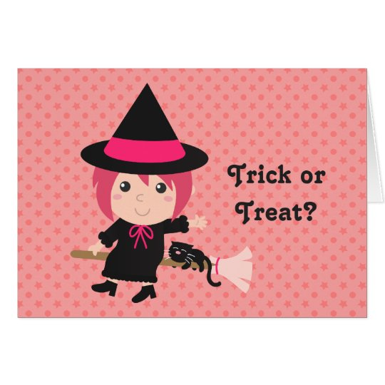 Trick or Treat with Happy Girl Witch for Halloween Card