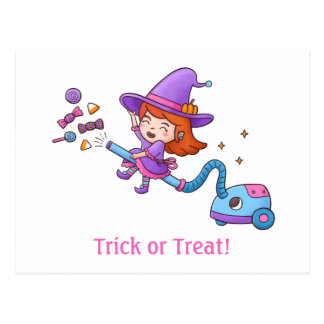 Trick or Treat with Little Witch on Vacuum Cleaner Postcard