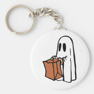 Trick or Treater Dressed as Ghost with Paper Bag Keychains