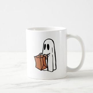 Trick or Treater Dressed as Ghost with Paper Bag Coffee Mug