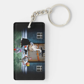 Trick or Treating Ducks Rectangle Acrylic Key Chain