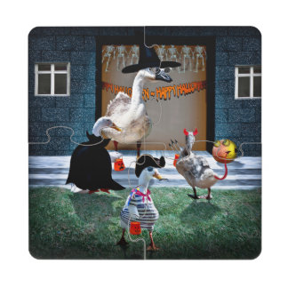 Trick or Treating Ducks Puzzle Coaster