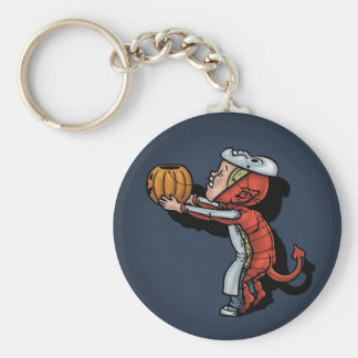 Trick or Trick or Treat Basic Round Button Key Ring