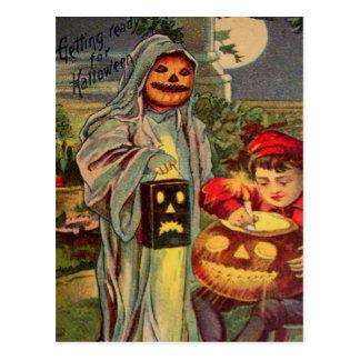 Trick R' Treat Ghost Jack O Lantern Pumpkin Postcard