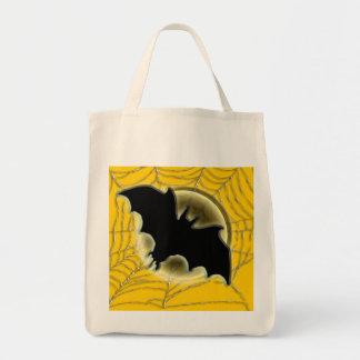 Trick treat bat moon spiderweb bag