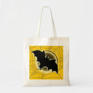 Trick treat bat moon spiderweb budget tote bag
