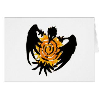 Trickster Raven With Spiral Sun Card