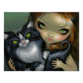 Tricksy Tuxedo Cat ART PRINT big eye cat fairy