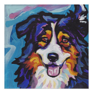 Tricolor Australian Shepherd Pop Art Print