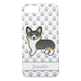 Tricolor Cartoon Welsh Corgi Pembroke Dog & Name iPhone 8/7 Case