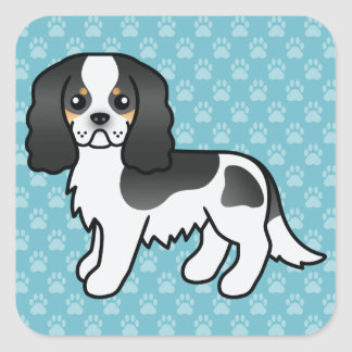 Tricolor Cavalier King Charles Spaniel Cartoon Dog Square Sticker