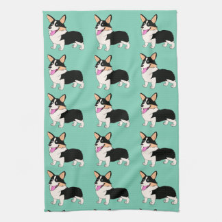 Tricolor Corgis in light green Tea Towel