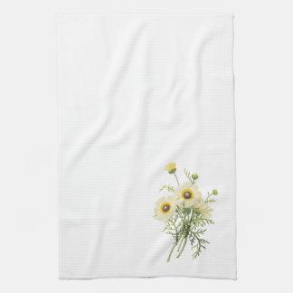 tricolor daisy(Chrysanthemum carinatum) by Redouté Tea Towel