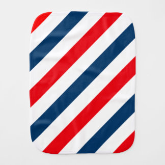 Tricolor Diagonal Stripes(blue, white, and red) Burp Cloths