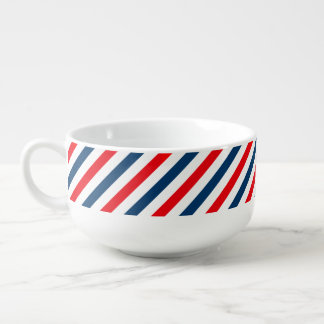Tricolor Diagonal Stripes(blue, white, and red) Soup Bowl With Handle