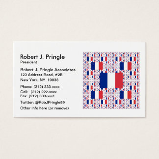 Tricolor France Flag in Multiple Colorful Layers Business Card