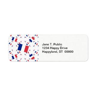Tricolor France Flag in Multiple Layers Askew Return Address Label