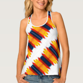 Tricolor Red Yellow And Blue Pattern On White Singlet
