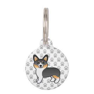 Tricolor Welsh Corgi Pembroke Breed Dog & Info Pet ID Tag