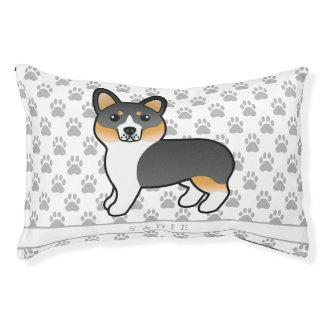 Tricolor Welsh Corgi Pembroke Dog With Dog's Name Pet Bed
