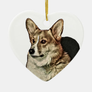 Tricolor Welsh Corgi Sitting Ceramic Ornament