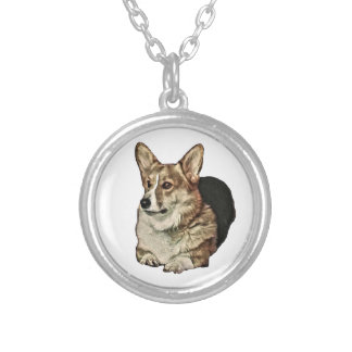 Tricolor Welsh Corgi Sitting Silver Plated Necklace
