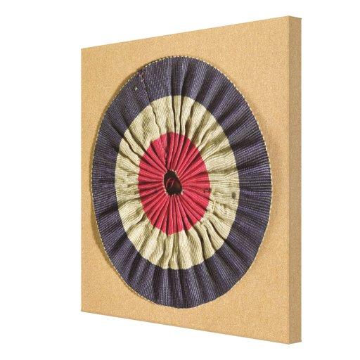 Tricolore rosette stretched canvas print