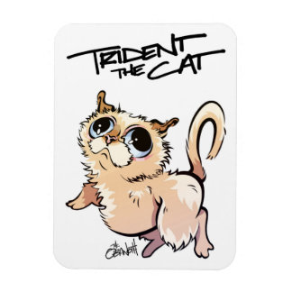 Trident the Cat Illustrated Magnet 01
