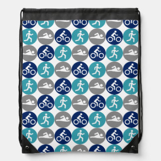 Tridots (teal/gray/navy) drawstring bag
