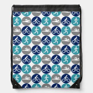 Tridots (teal/gray/navy) drawstring bag