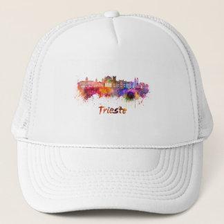 Trieste skyline in watercolor trucker hat