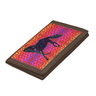 TriFold Wallet Horses Brown red brown pink purple