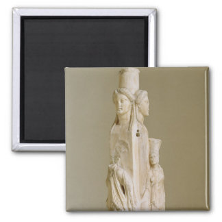 Triform Herm of Hecate, Marble sculpture, Attic pe Square Magnet