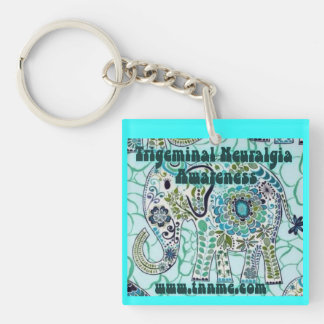 Trigeminal Neuralgia Awareness Elephant Key Chain. Key Ring