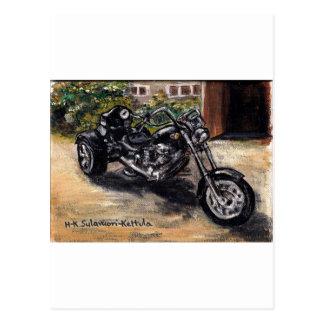 Trike motorcycle postcard