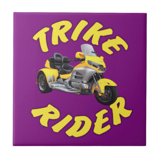 Trike Rider in Yellow Ceramic Tile