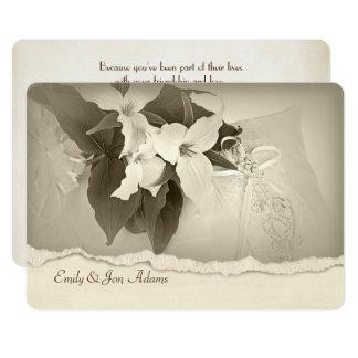 Trillium in sepia tone Wedding Vow Renewal Card