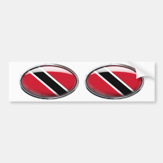 Trinidad And Tobago Flag Glass Oval Bumper Sticker
