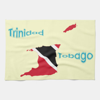Trinidad and Tobago Flag Map Kitchen Towels