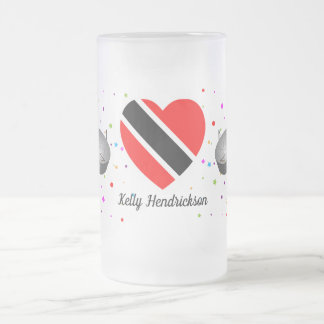 Trinidad and Tobago Flag & Steelpan (Your Name) Frosted Glass Beer Mug