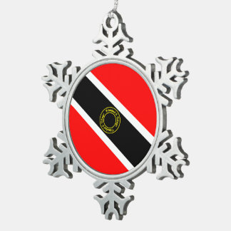 Trinidad and Tobago Snowflake Pewter Christmas Ornament