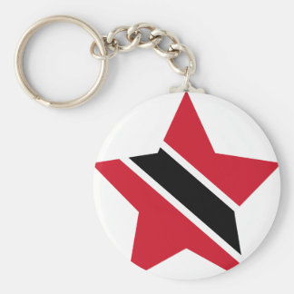 Trinidad+and+Tobago Star Basic Round Button Key Ring
