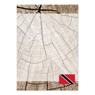 Trinidadian flag on tree bark 13 cm x 18 cm invitation card