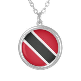 Trinidadtobago flag silver plated necklace