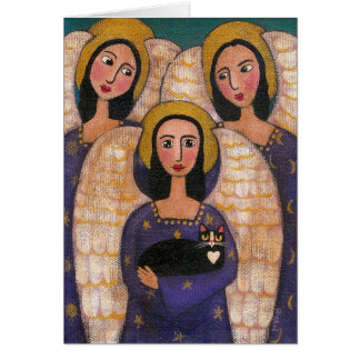 Trinity Angels & Cat Greeting Card