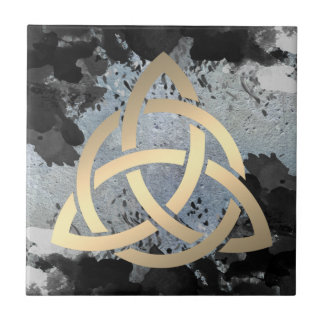 Trinity Knot Celtic Dark Clouds Sky Small Square Tile