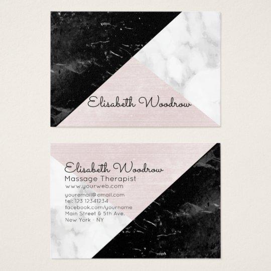 Trio - Black, White Marble Pink Silk Geometric Business Card