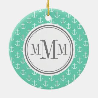 Trio Monogram Mint White Anchor Pattern Ceramic Ornament